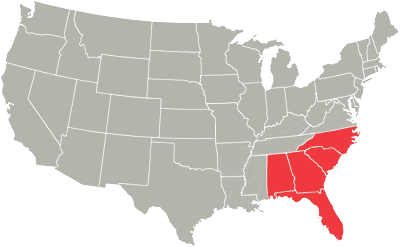 Map of the continental US with the Southeast states highlighted in red